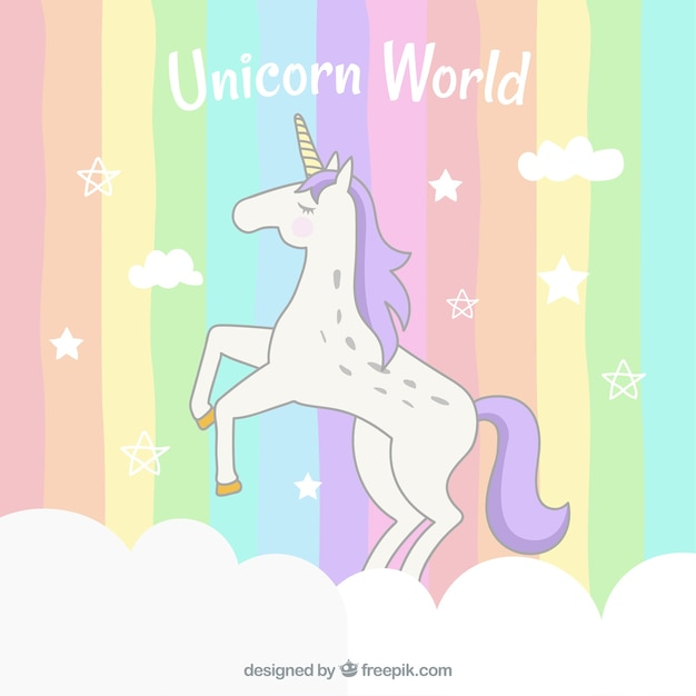 Colorful striped background with unicorn Free Vector