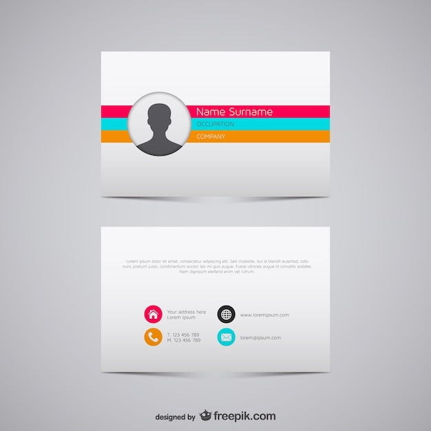 Colorful stripes business card Free Vector