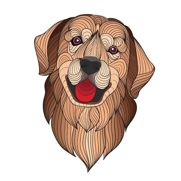 Colorful stylized golden retriever dog head Premium Vector