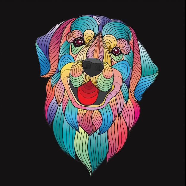 Colorful stylized golden retriever dog head Premium Vector
