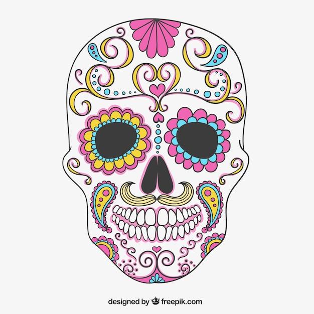 colorful sugar skull vector free download