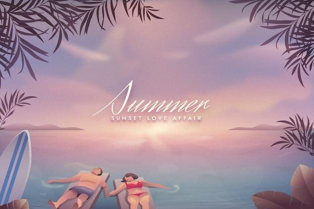 カラフルな夏の背景のコンセプト 無料ベクター
