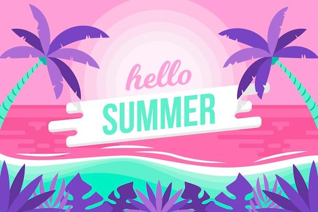 Красочный летний фон с пляжем Бесплатные векторы