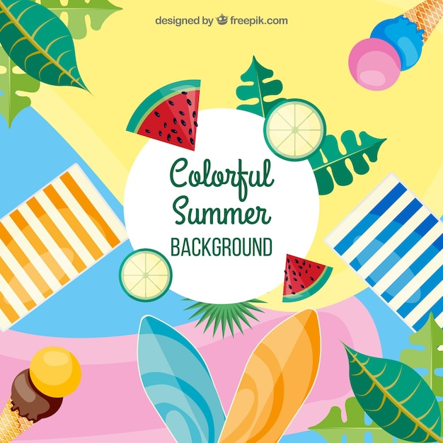 Colorful summer background with flat design Free Vector