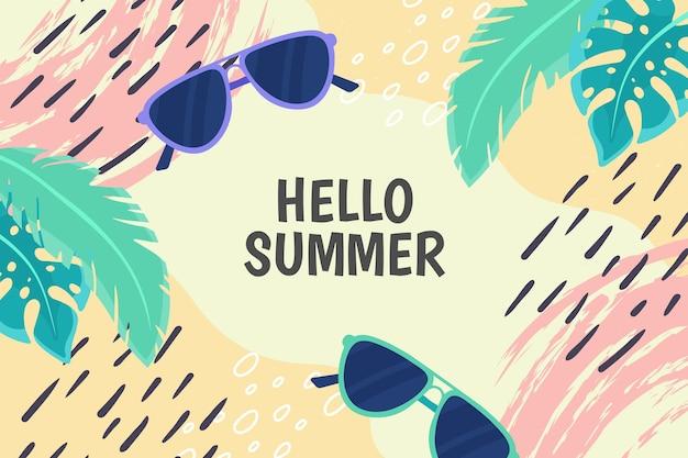 Красочный летний фон с листьями и солнцезащитные очки Бесплатные векторы