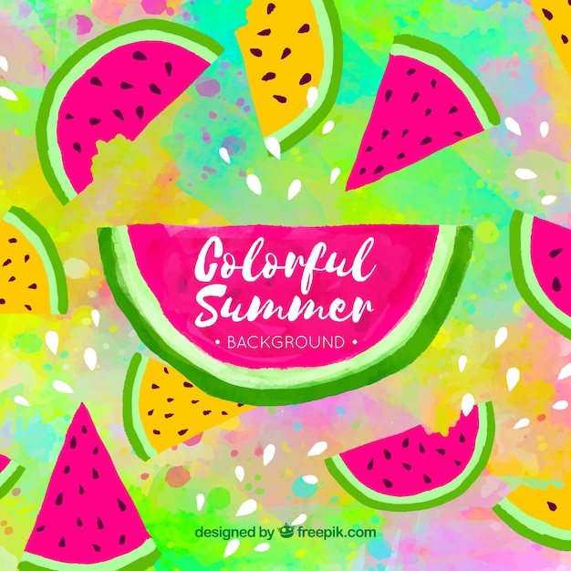 Colorful summer background with watermelon Free Vector