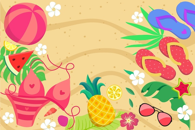 Colorful summer background for zoom Free Vector