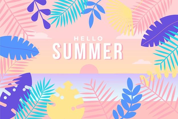 カラフルな夏の背景 無料ベクター