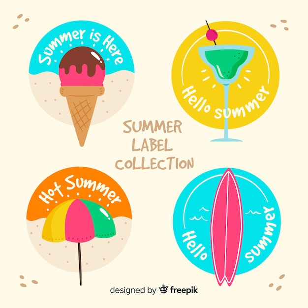 Colorful summer badge collection Free Vector