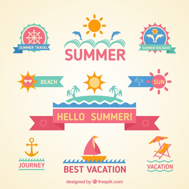 Colorful summer badges Free Vector