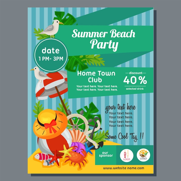Colorful summer beach party poster marine vector illustration Premium Vector