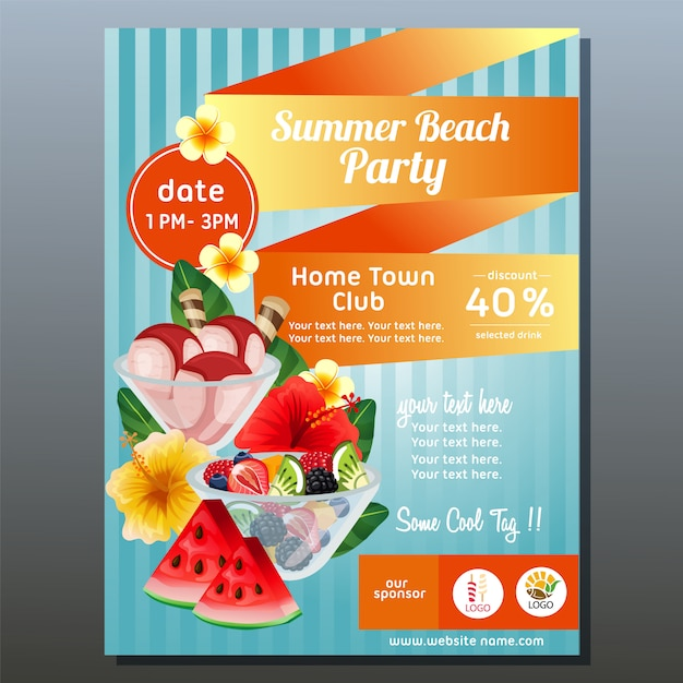 Colorful summer beach party poster with refreshment vector illustration Premium Vector