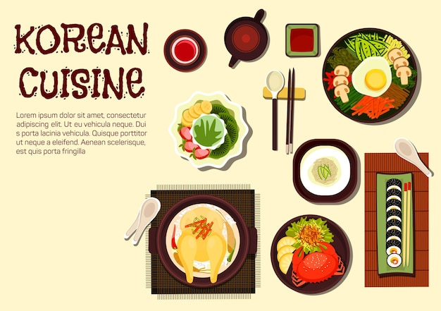 Colorful summer dishes of korean cuisine with chicken ginseng soup, sushi rolls kimbap, rice bibimbap topped with vegetables Premium Vector