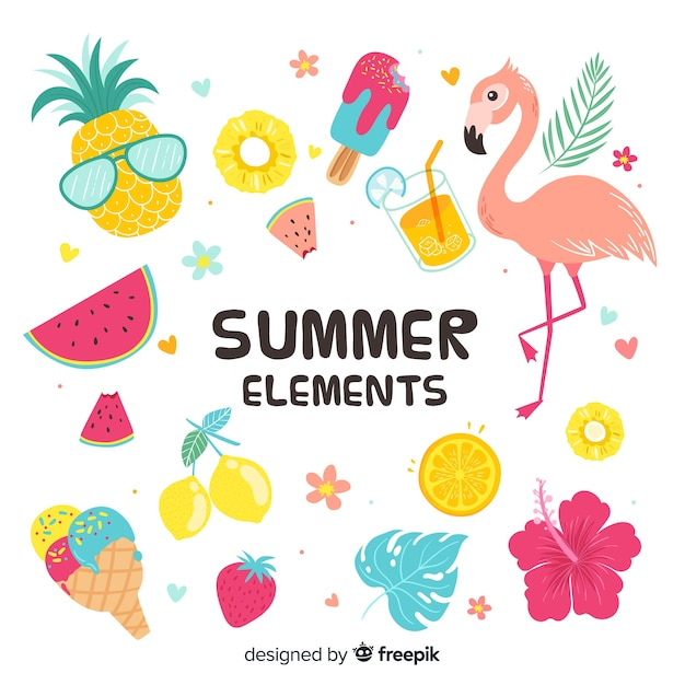 Colorful summer elements collection Free Vector