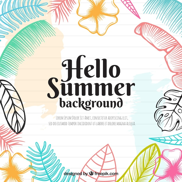 Colorful summer flowers background in hand\ drawn style