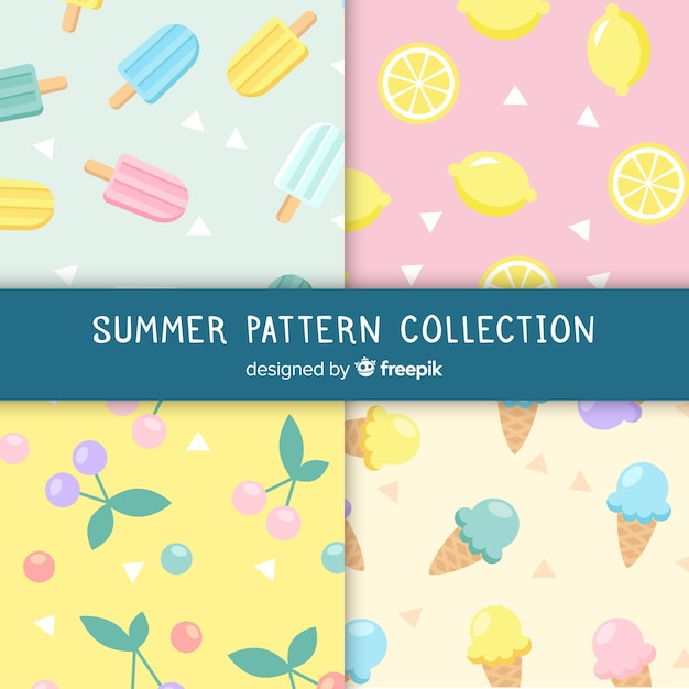 Colorful summer food pattern Free Vector