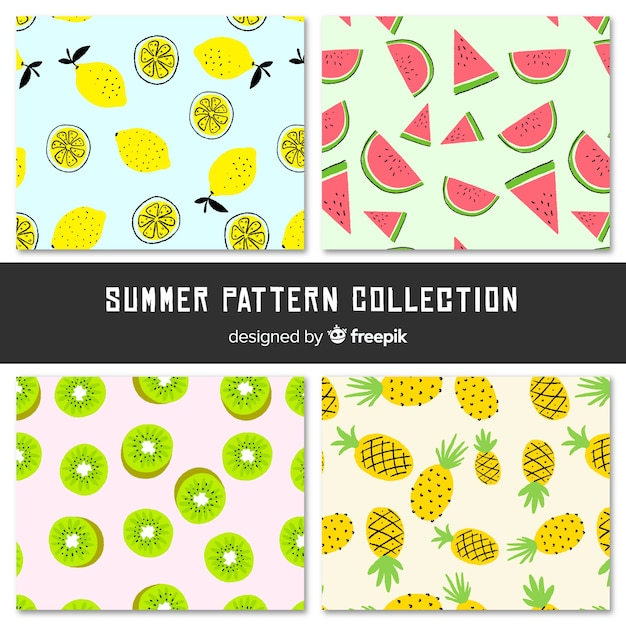 Colorful summer fruit pattern Free Vector