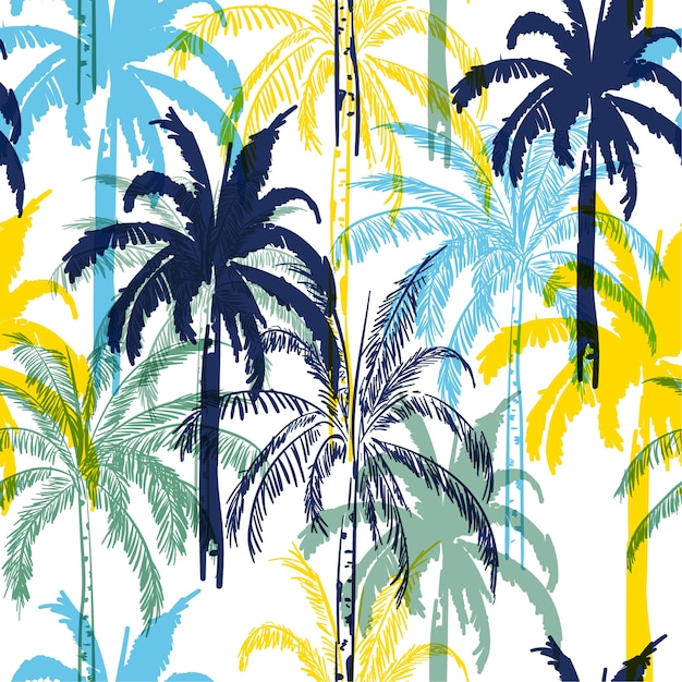 Colorful  summer palm trees on the white  forest  background Premium Vector