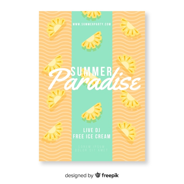 Colorful summer paradise poster Free Vector
