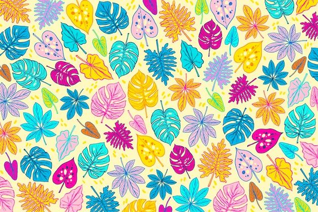 Красочный летний дизайн с листьями Бесплатные векторы