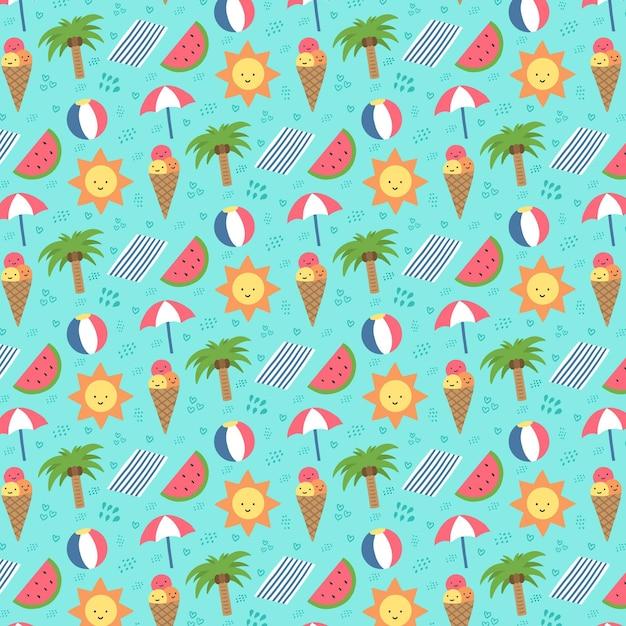カラフルな夏のパターン 無料ベクター