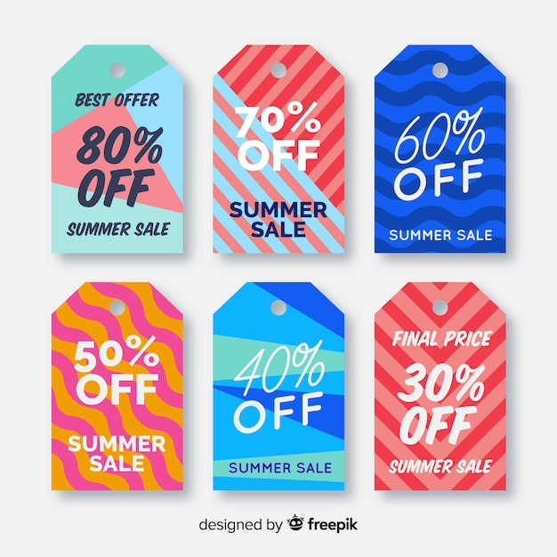 Colorful summer sale label collection Free Vector