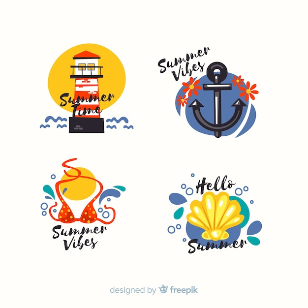 Colorful summer sale labels collection Free Vector