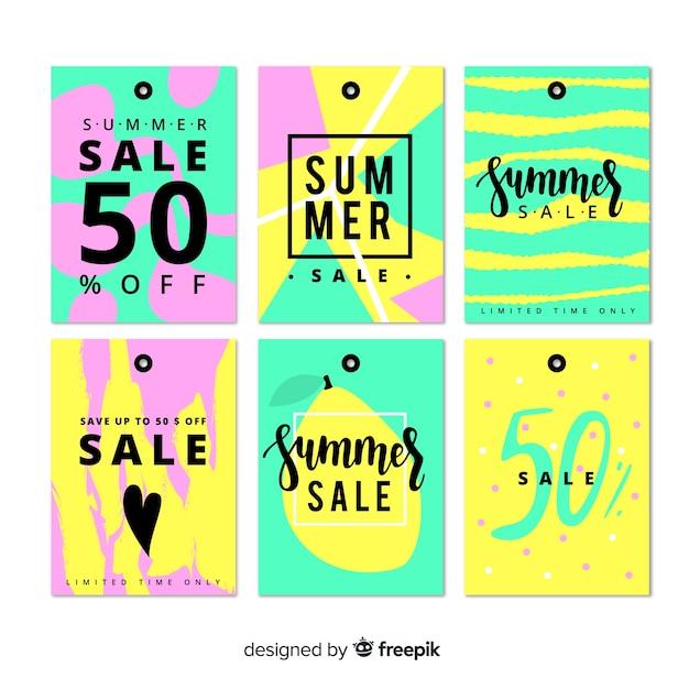 Коллекция красочных летних распродаж Бесплатные векторы