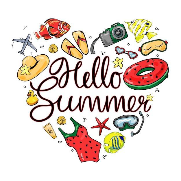 Красочный летний набор на белом фоне изолированных. привет лето. Premium векторы