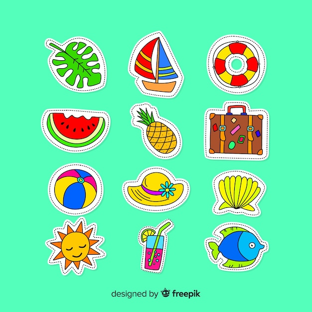 Colorful summer sticker collection Free Vector