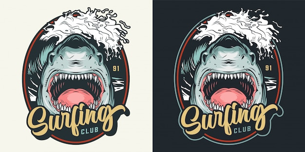 Colorful summer surfing club badge Free Vector