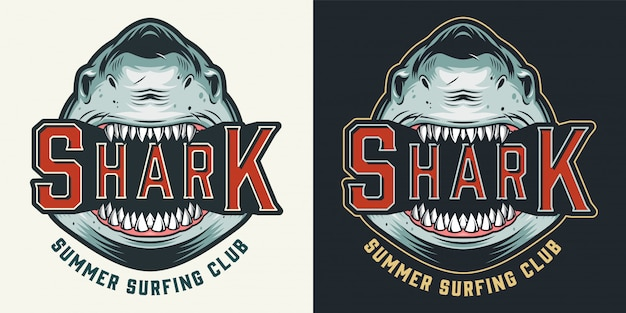 Colorful summer surfing club vintage emblem Free Vector