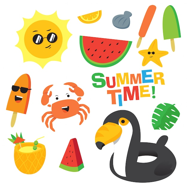 Colorful summer time cartoon vector set Premium Vector