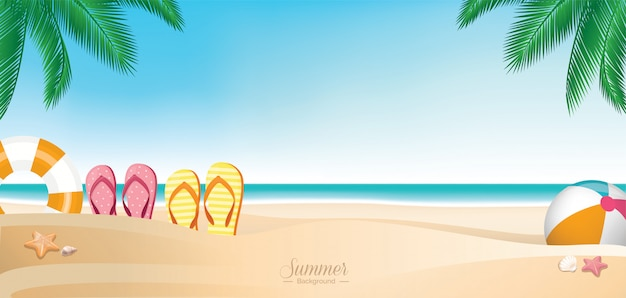 Colorful summer vacation beach banner Premium Vector