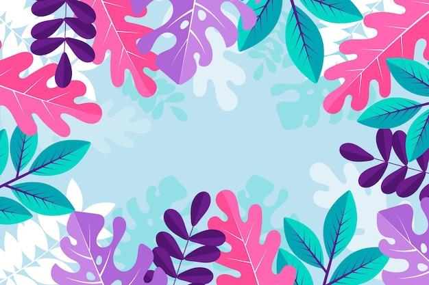 葉とカラフルな夏の壁紙 無料ベクター