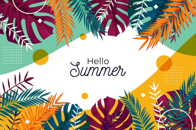 Colorful summer wallpaper with leaves Free Vector