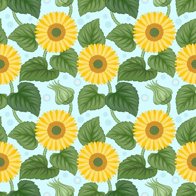 Colorful sunflowers seamless pattern on blue. Premium Vector