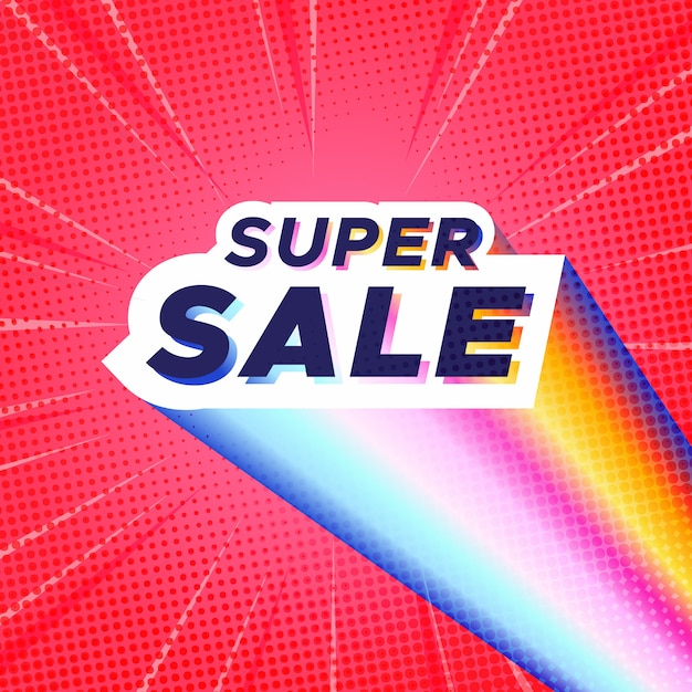 Colorful super sale banner with red comic zoom background Free Vector