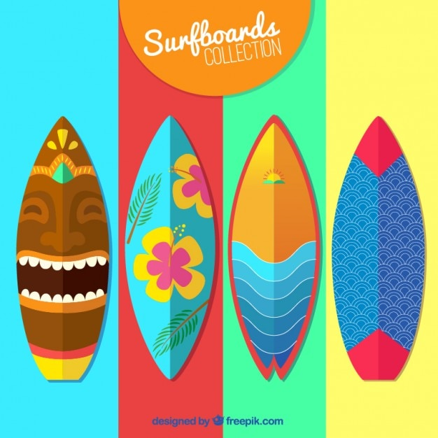 colorful surfboard collection vector free download rh freepik com Surfboard Silhouette Surfboard Silhouette