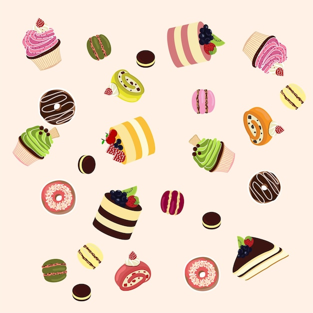 Colorful sweet cakes set. Premium Vector