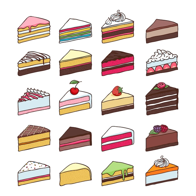 Colorful sweet cakes slices pieces set hand drawn vector illustration. Premium Vector