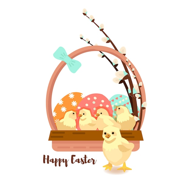 Colorful sweet happy easter greeting card. Premium Vector
