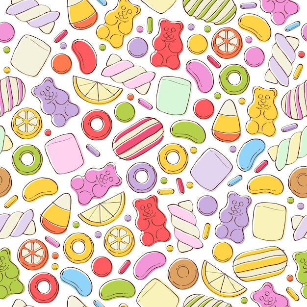 Colorful sweets seamless background. Premium Vector