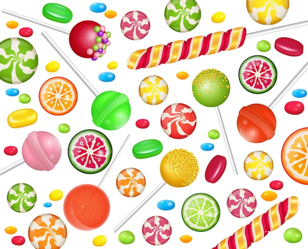 Colorful sweets set - hard candy, candy canes, jellies. Premium Vector