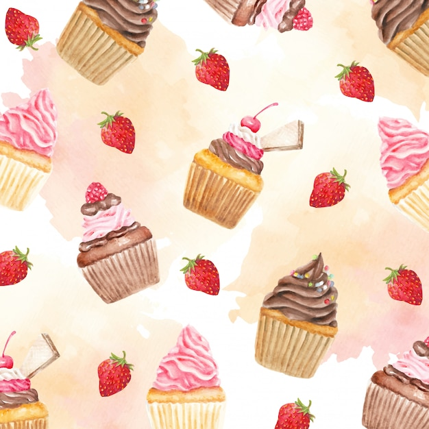 Colorful sweety cupcakes and berries fruit watercolor pattern Premium Vector
