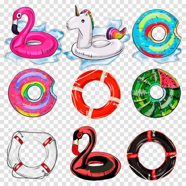 Colorful swim rings icon set isolated. Premium Vector