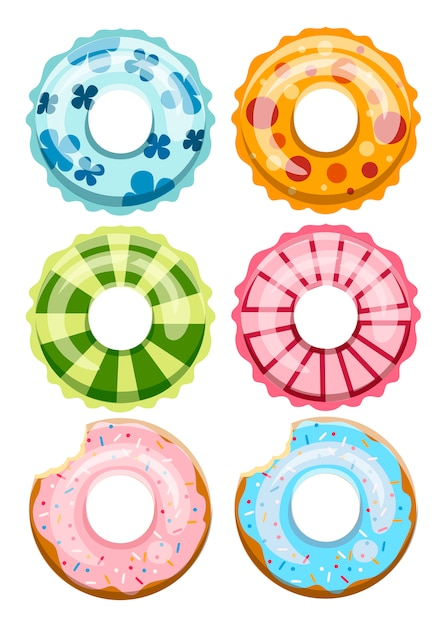 Colorful swim rings set. inable rubber toy. swimmer circle with different texture.   icons collection. illustration  on white background Premium Vector