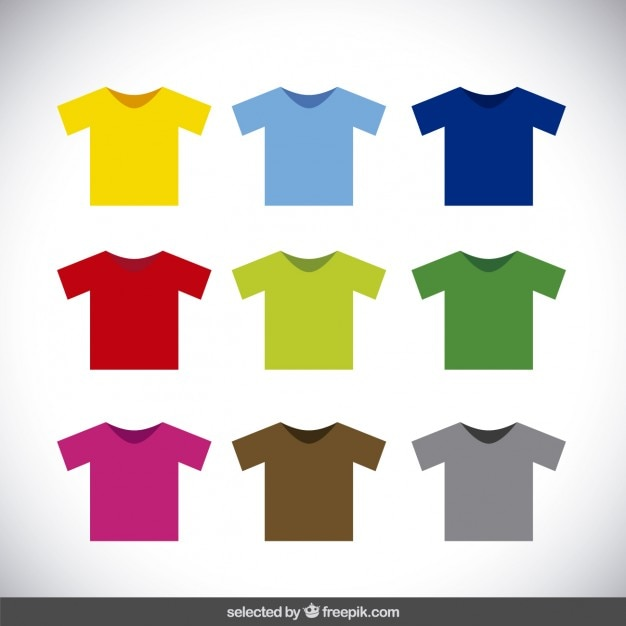 Colorful t-shirt collection Free Vector
