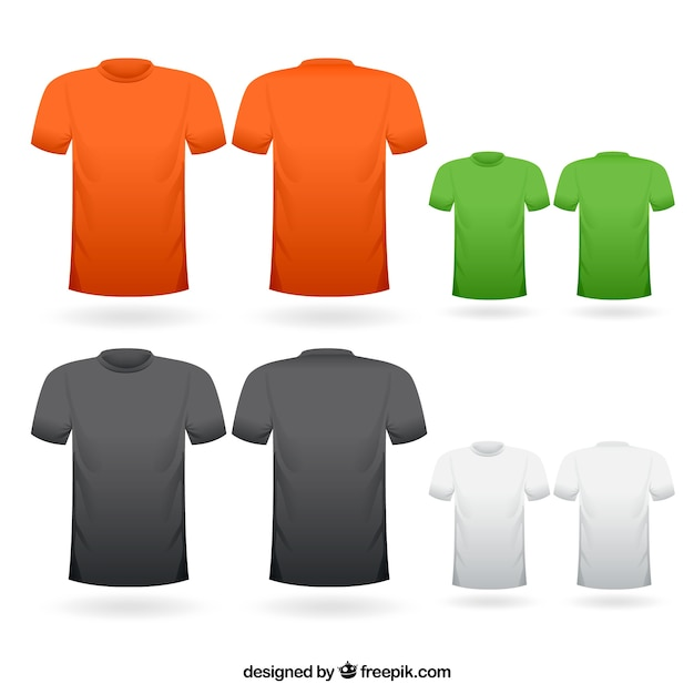 Colorful t-shirts collection Free Vector