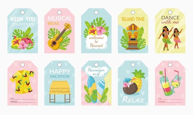 Colorful tags design for holiday on hawaii vector illustration Free Vector